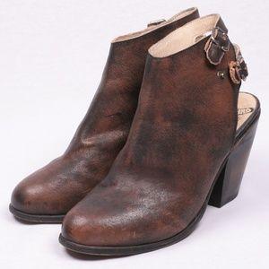 FREEBIRD Leather Boot Booties Buckle Mule Heel 9